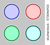 set of four round stickers in... | Shutterstock .eps vector #573046933