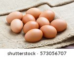 Close Up Chicken Eggs On Sack...