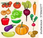 set of ripe vegetables. hand... | Shutterstock .eps vector #573063277