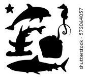 vector set of sea marine fish... | Shutterstock .eps vector #573064057