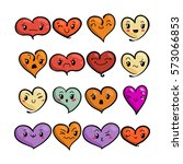 set of cute lovely emoticons.... | Shutterstock .eps vector #573066853