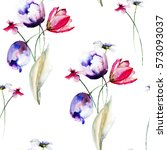 seamless pattern with wild... | Shutterstock . vector #573093037