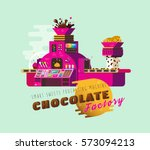 cartoon chocolate factory... | Shutterstock .eps vector #573094213