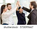 sharing victory. mature... | Shutterstock . vector #573099667