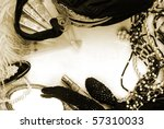 Vintage ladies accessories in sepia tone - stock photo
