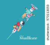 acupuncture poster with syringe ... | Shutterstock .eps vector #573113053