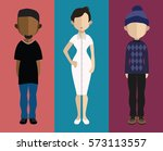 set of people icons in flat... | Shutterstock .eps vector #573113557