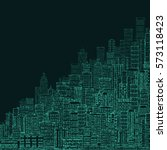 cityscape building line art... | Shutterstock . vector #573118423