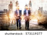 silhouettes of business people... | Shutterstock . vector #573119377