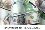 world currency closeup... | Shutterstock . vector #573122263