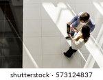 business partners talking in...   Shutterstock . vector #573124837