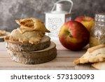 Mini Apple Pie On Wooden...