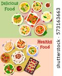 delicious food icon set of fish ... | Shutterstock .eps vector #573163663