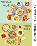 tasty snacks icon set of... | Shutterstock .eps vector #573163753