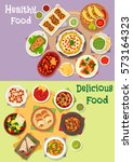 mexican cuisine icon set with... | Shutterstock .eps vector #573164323