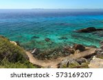 trail along ocean  isla mujeres ... | Shutterstock . vector #573169207