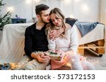 young couple in love have fun... | Shutterstock . vector #573172153