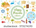 passover icons set. flat ... | Shutterstock .eps vector #573174193