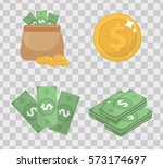 money and coin set  icons flat... | Shutterstock .eps vector #573174697