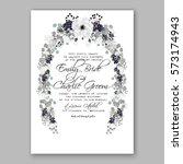 anemone wedding invitation card ... | Shutterstock .eps vector #573174943