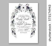 anemone wedding invitation card ... | Shutterstock .eps vector #573174943