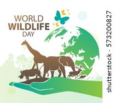 world wildlife day  march 3 | Shutterstock .eps vector #573200827