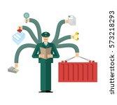 russian customs service at work....   Shutterstock .eps vector #573218293