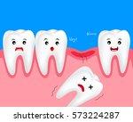 cute cartoon tooth character.... | Shutterstock .eps vector #573224287