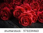 Red Roses On Old Wooden Board ...