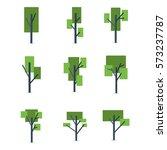 set of tree various vector flat ...   Shutterstock .eps vector #573237787
