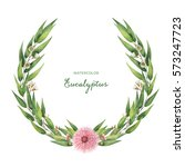 watercolor round wreath with... | Shutterstock . vector #573247723