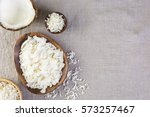 dehydrated coconut flakes in... | Shutterstock . vector #573257467