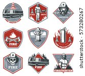 Vintage Firefighting Labels Se...