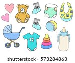 baby set  with accessories for... | Shutterstock . vector #573284863