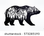 Double exposure, deocrative bear with nature pine forest cones with mountains landscape, night sky. Isolated vintage vector illustration.Tattoo, travel, adventure, wildlife symbol. The great outdoors. | Shutterstock vector #573285193
