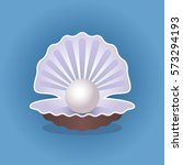 open shell with pearl. flat...   Shutterstock .eps vector #573294193