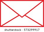 mail sign outline red vector | Shutterstock .eps vector #573299917