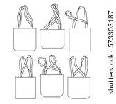 vector canvas bags. mock up.... | Shutterstock .eps vector #573303187