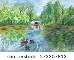 Landscape With A Pond  Ducks...
