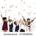 children smiling happiness... | Shutterstock . vector #573308983