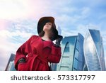 Happy Young Traveler Woman In...