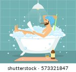 happy funny man guy taking bath ... | Shutterstock .eps vector #573321847