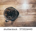 top view iced coffee in a glass ... | Shutterstock . vector #573326443