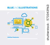 blue line illustration concept... | Shutterstock .eps vector #573343963