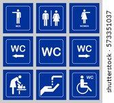 wc   toilet door plate icons... | Shutterstock .eps vector #573351037