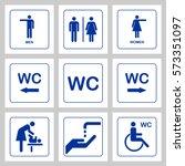 wc   toilet door plate icons... | Shutterstock .eps vector #573351097