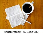 enjoy coffee and write notes on ... | Shutterstock . vector #573355987