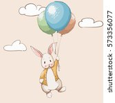 cute rabbit flying with... | Shutterstock .eps vector #573356077