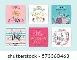 Stock vector set of happy valentines day cards hand drawn lettering design vector illustration 573360463