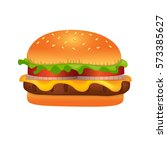 realistic cheeseburger vector... | Shutterstock .eps vector #573385627